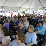 Gaithersburg Book Festival Attendees listen to an author.
