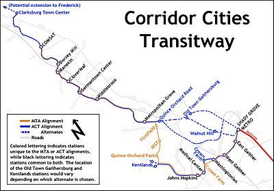 Diagram of Corridor Cities Transitway Montgomery County Maryland