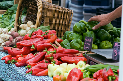 farmers market peppers and vegetables up close