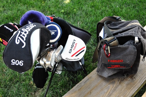 Golf clubs with Fabrizio backpack