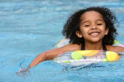 Image of young girl swimming