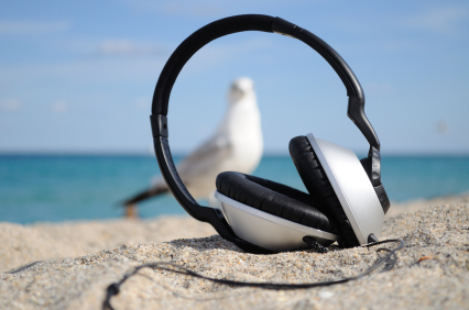 earphones on the beach picture