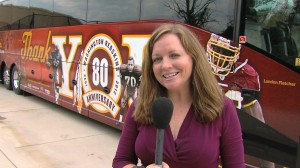Sonya Burke and Redskins 80th anniversary tour bus