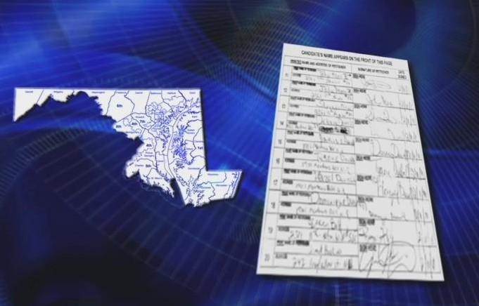 image of map of Maryland and ballot next to it