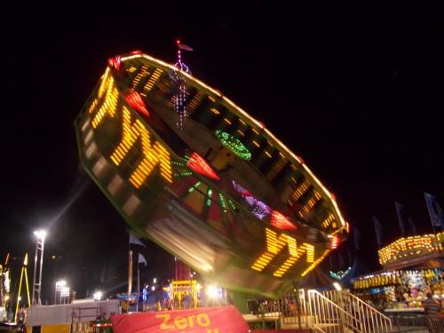 image of fair ride at night