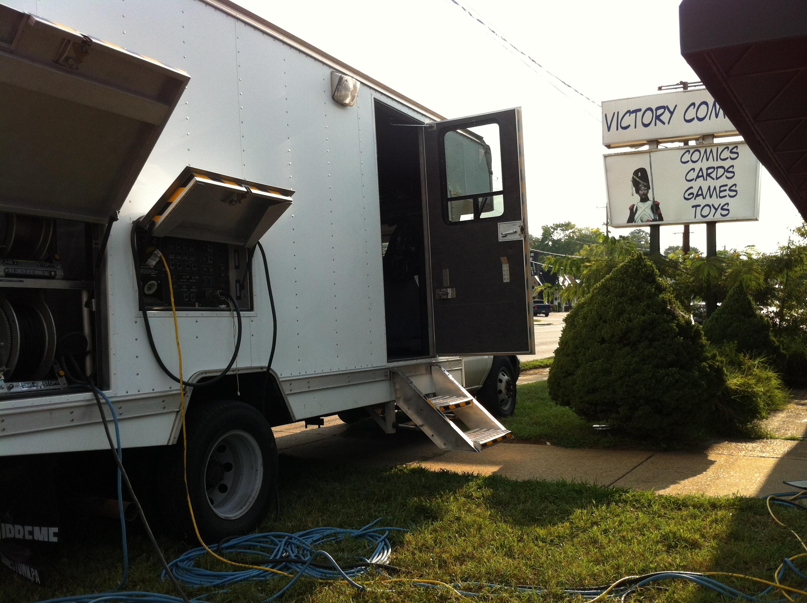 Mobile production van at Victory Comics