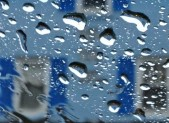 Raindrops on car window outside White's Ferry Store