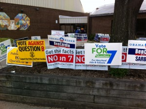 Signs As Early Voters Enter Bauer Recreation Center November 2