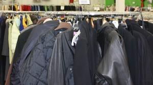 winter coats on rack
