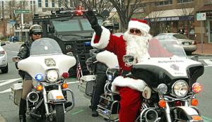 Santa riding on a motorcycle
