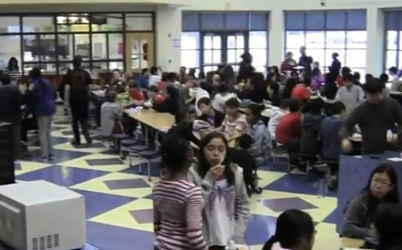 Photo of students in school cafeteria