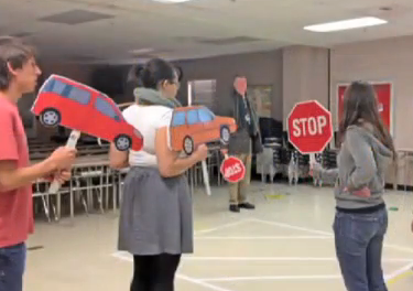 photo students learning to teach pedestrian safety