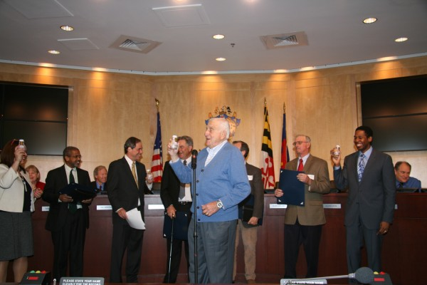 Montgomery County farmer David Weitzer raised a toast of bottled chocolate milk on March 19 as the Montgomery County Council saluted the county's farmers