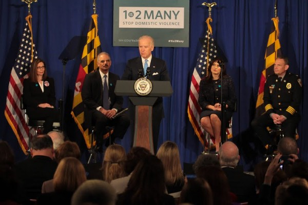 Vice President Joe Biden and Attorney General Eric Holder at Montgomery County Executive Office Building, Rockville, MD