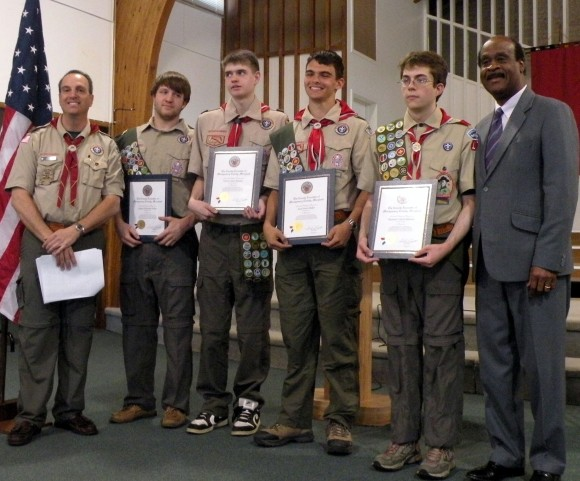 Boy Scout Troop 1760 at Court of Honor Ceremony on April 20 Scoutmaster; Eagle Scouts Clayton Palmer, Vincent Romano, Noah Blaker, and Alexander Palmrose;  and County Exec Ike Leggett