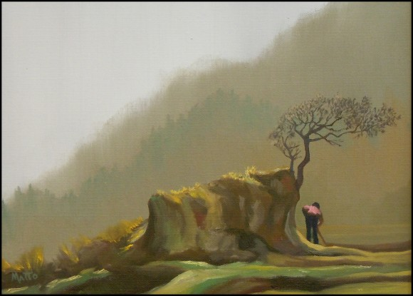 photo of painting 'Wajima Rice Paddies' by Matt Baker