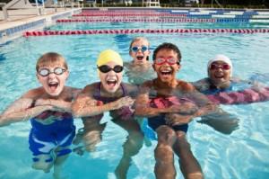 Kids shouting in swimming pool