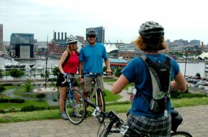 TDP Riders on top of Federal Hill overlook of the Inner Harbor