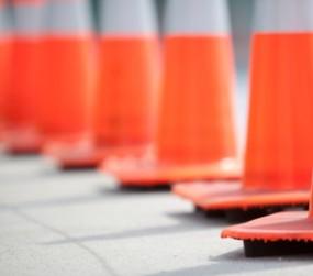 photo of road work cones