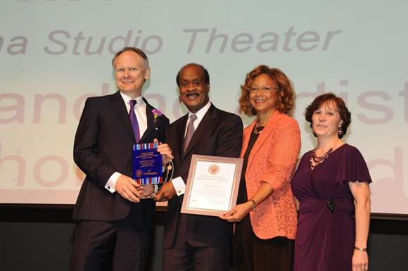 Outstanding Artist Award winner David R. Minton, Lumina Studio Theatre, with County Executive and Mrs. Leggett Photo | Clark W. Day