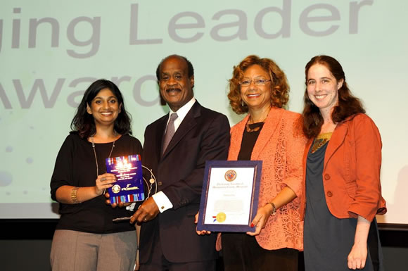Emerging Leader Award winner Heena Genti, CREATE! Arts Center, with County Executive and Mrs. Leggett Photo | Clark W. Day