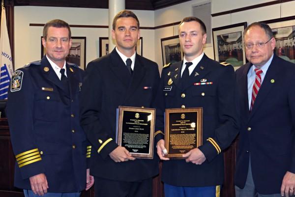 Police Chief Mark Sroka, Ensign John Hunt, Lieutenant Wells Weymouth, Mayor Sidney Katz Photo | City of Gaithersburg/Britta Monaco