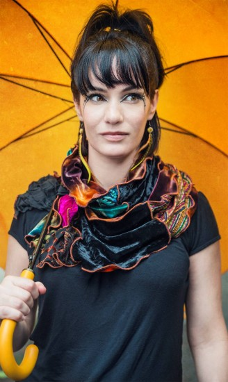 A recycled velvet scarf handmade by Anja Bakandika Photo   Strathmore