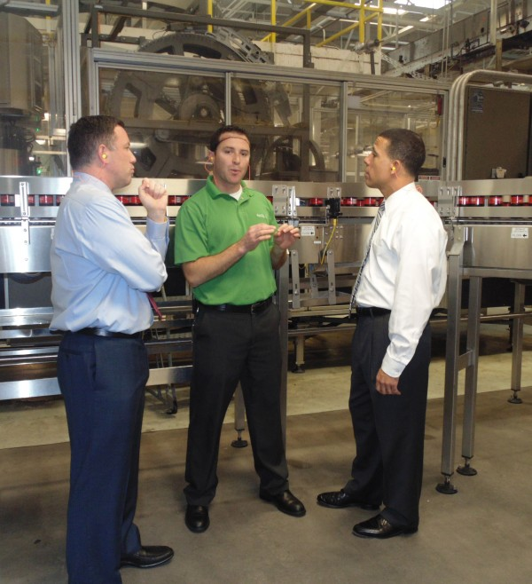 Anthony Brown and Ken Ulman on their Maryland Business Climate Tour, visiting a Coca-Cola bottling facility in Silver Spring on Dec. 5