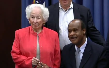 Accessibility Tax Credit Bill Signing, Jackie Simon and Isiah Leggett