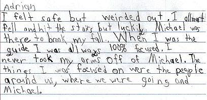 photo of Adrian's writing