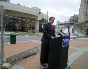 Doug Duncan at Silver Spring Transit Center on March 6.  Photo | Doug Duncan for Montgomery County Executive