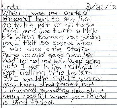 photo of Linda's writing
