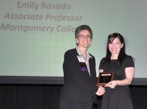 Emily Rosado at award ceremony