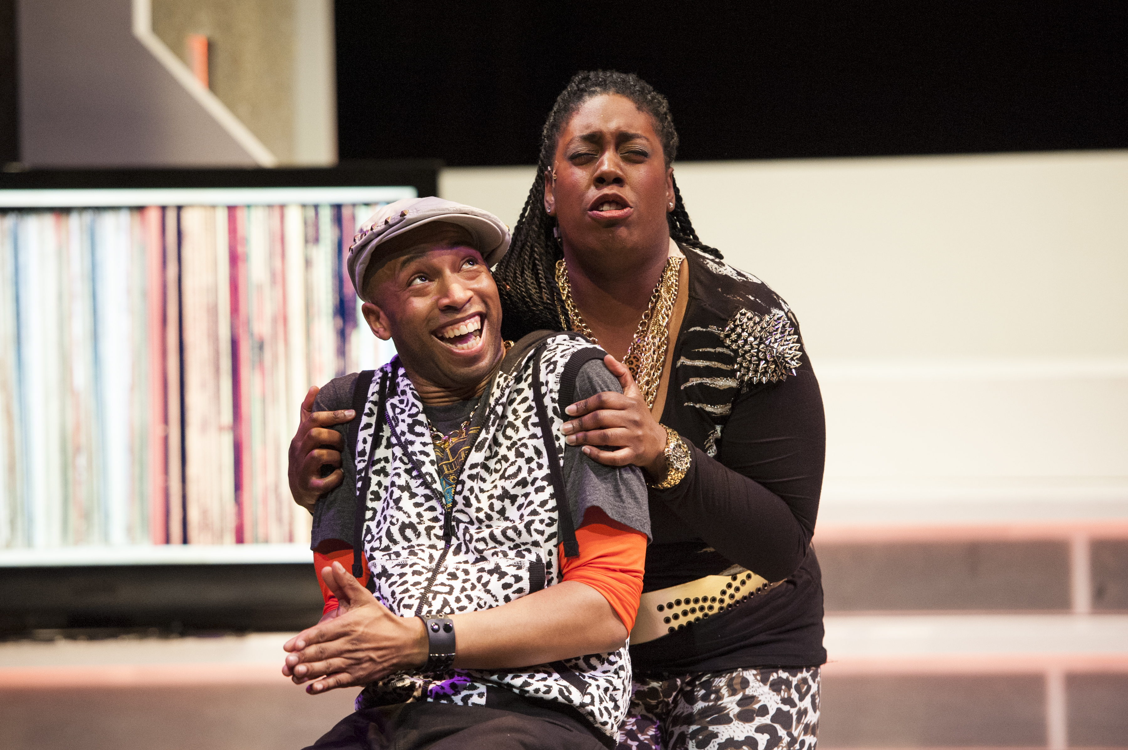 photo of – Chocolate Ice (Mark Hairston) and Bad Ma'amajama (Giselle LeBleu Gant) devise a plan to bring down DJ Sincere in the world premiere of CINDERELLA: THE REMIX at Imagination Stage through May 25.