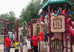 photo of Kids on playground equipment