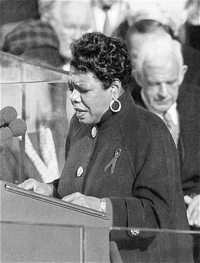 """Maya Angelou reciting her poem, """"On the Pulse of Morning"""" at President Bill Clinton's inauguration in 1993 