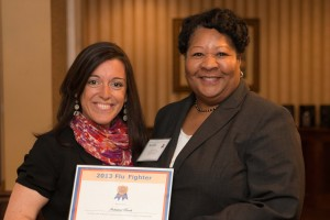 photo of Adventist HealthCare presents 'Flu Fighter' Award to Industrial Bank