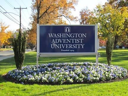 photo of Washington Adventist University sign