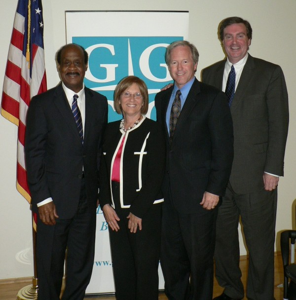 Ike Leggett, GGCC Executive Director Marilyn Balcombe, Phil Andrews and Doug Duncan at the Gaithersburg-Germantown Chamber's County Executive Primary Forum held at Montgomery College on May 29, 2014.