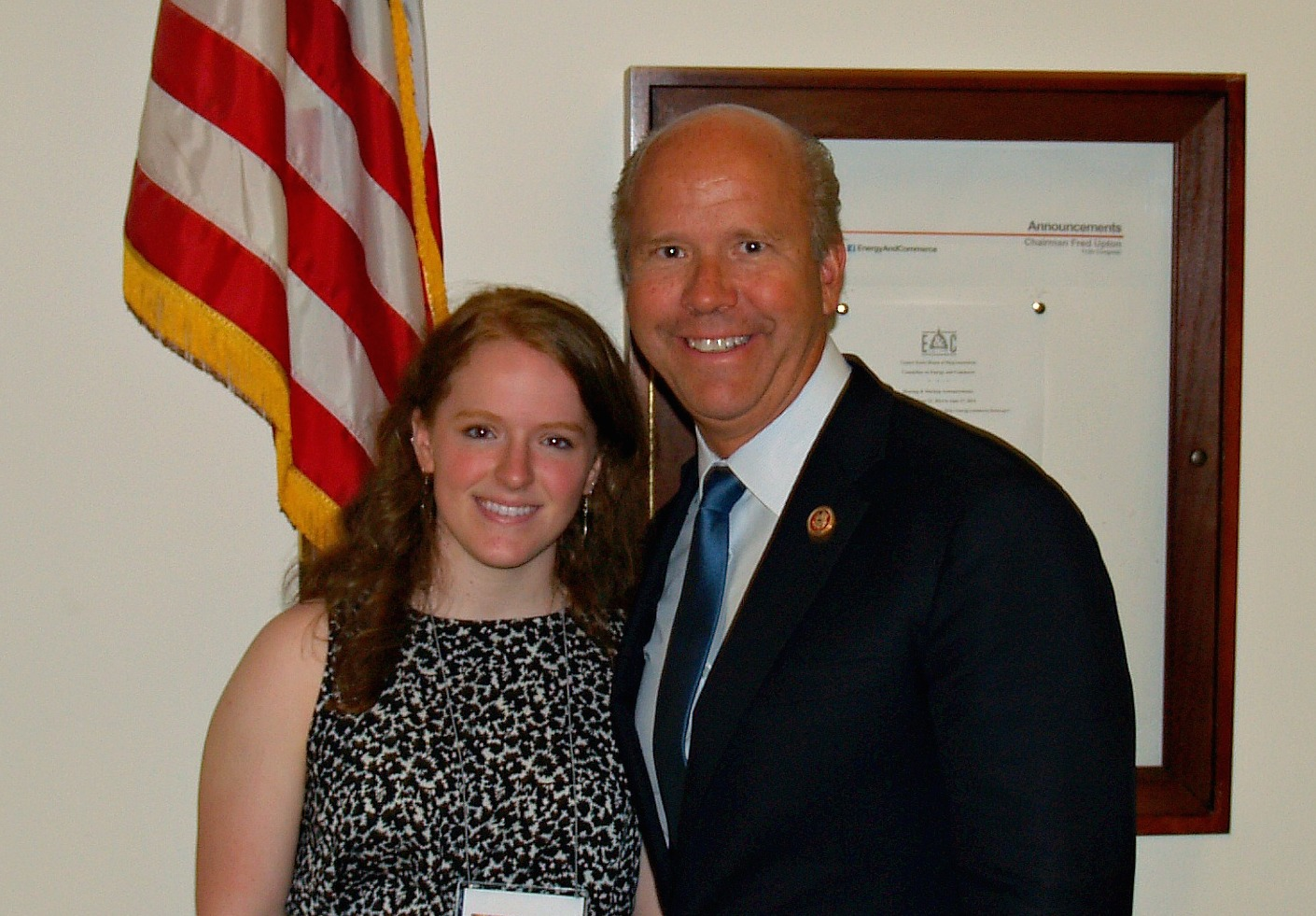 Alexa Thompson, a Congressional Art Competition winner, poses with Congressman John Delaney.