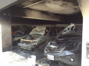 Four cars were damaged in a fire in a Silver Spring parking garage. PHOTO| Pete Piringer