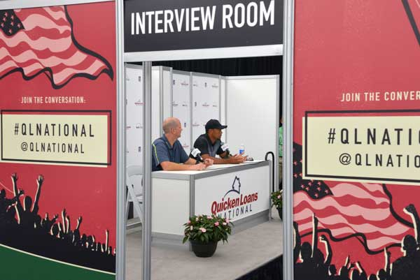 Mark Stevens PGA Media Official with Tiger Woods