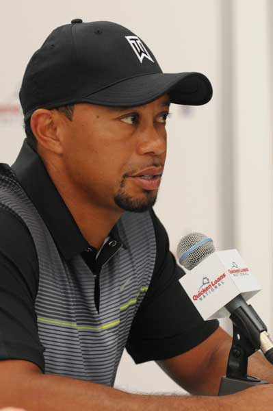 Tiger Woods Addressing the Media at the Quicken Loans National