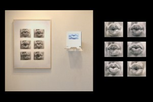 """photo of artwork by Scott Hutchison,  """"Kiss"""", graphite on paper, video dimensions variable."""