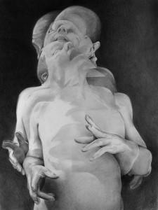 "photo of Scott Hutchison, ""Displaced"", graphite on paper."