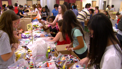 photo of students working on Drive for Supplies program