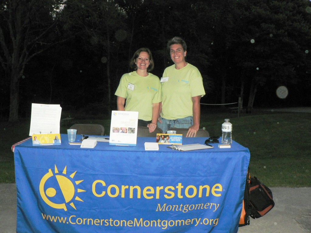 (l:r) Cornerstone Montgomery's Anne Peyer, Executive Director, and Nicole Grainer, Communication, Marketing and Advocacy Development Manager, at the Gaithersburg-Germantown Chamber non-profit showcase membership picnic at Smokey Glen Farm. (Photo credit – Laura Rowles, GGCC Director of Events & Marketing)