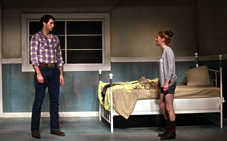photo of Thomas Keegan and Katie DeBuys in dress rehearsal for Round House Theatre's Fool for Love