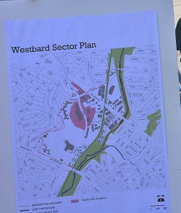Westbard Sector Plan Map in Westwood Shopping Ctr parking lot