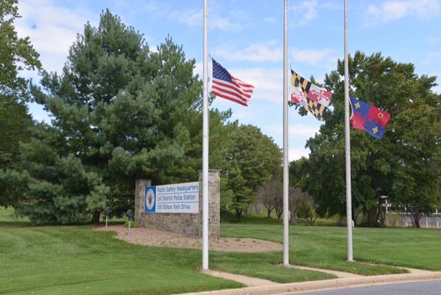 photo of Public Service HQ 9/11 Flags Half Staff